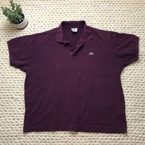EUC Men's burgundy Lacoste polo